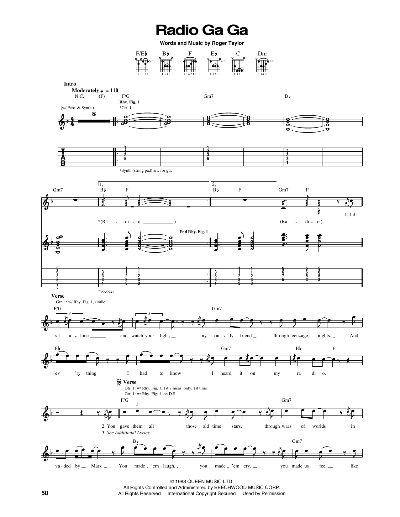 Radio Ga Ga Sheet Music