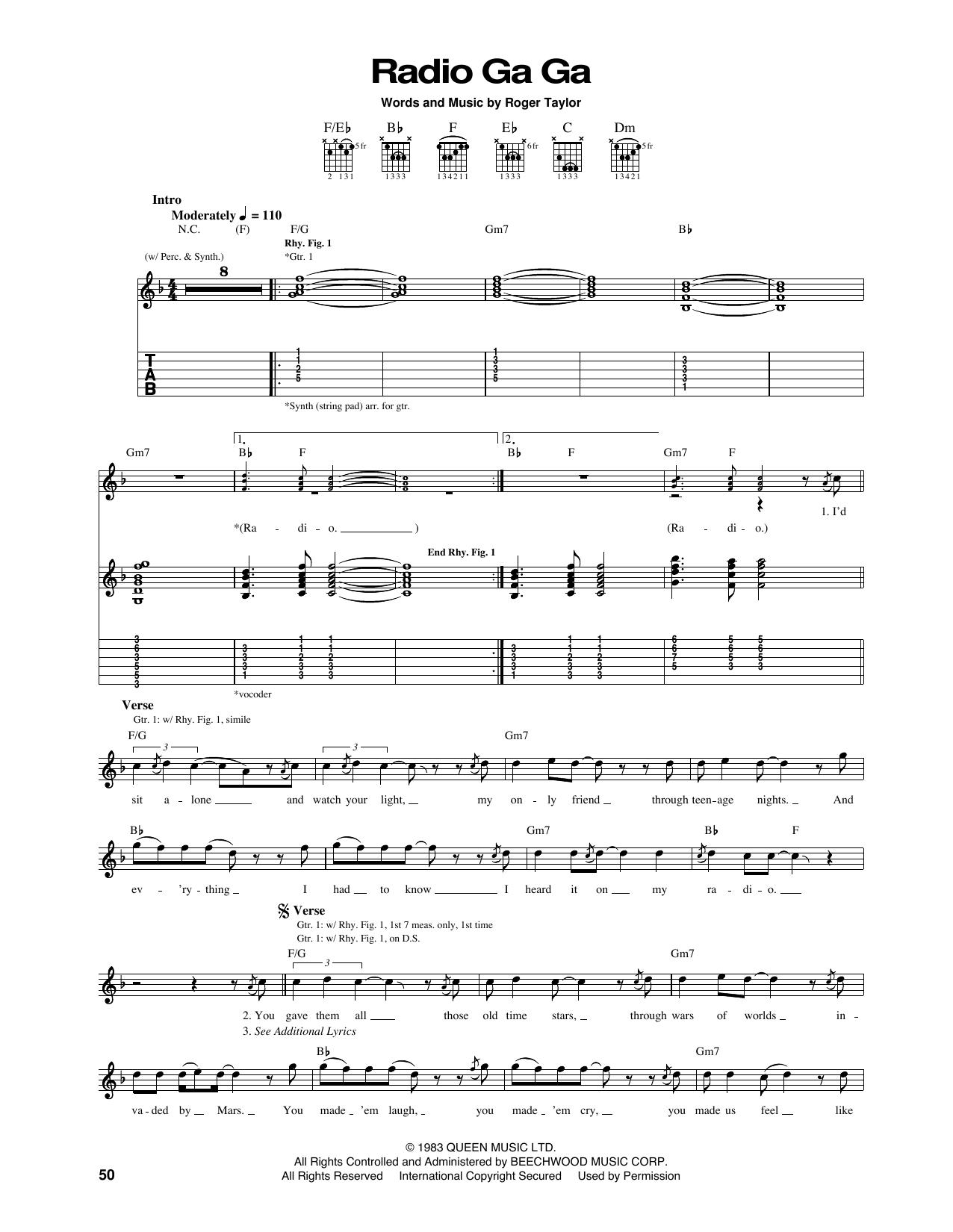 Tablature guitare Radio Ga Ga de Queen - Tablature Guitare