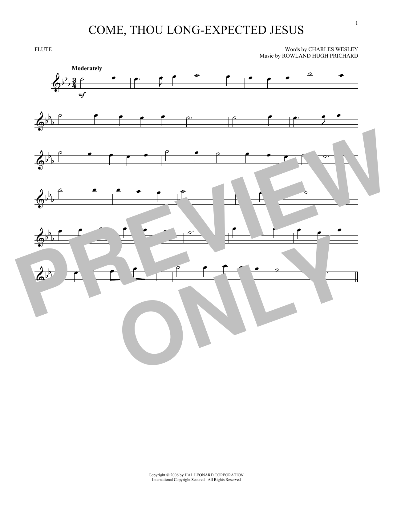 Come, Thou Long-Expected Jesus (Flute Solo)
