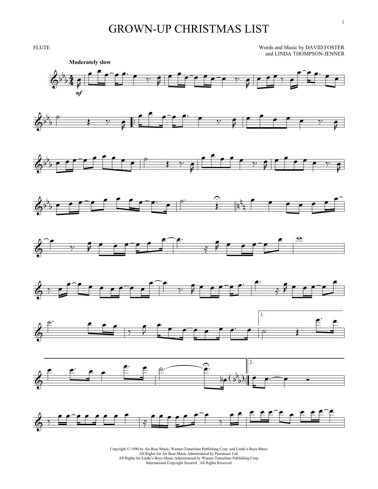 Partition flûte Grown-Up Christmas List de Amy Grant - Flute traversiere