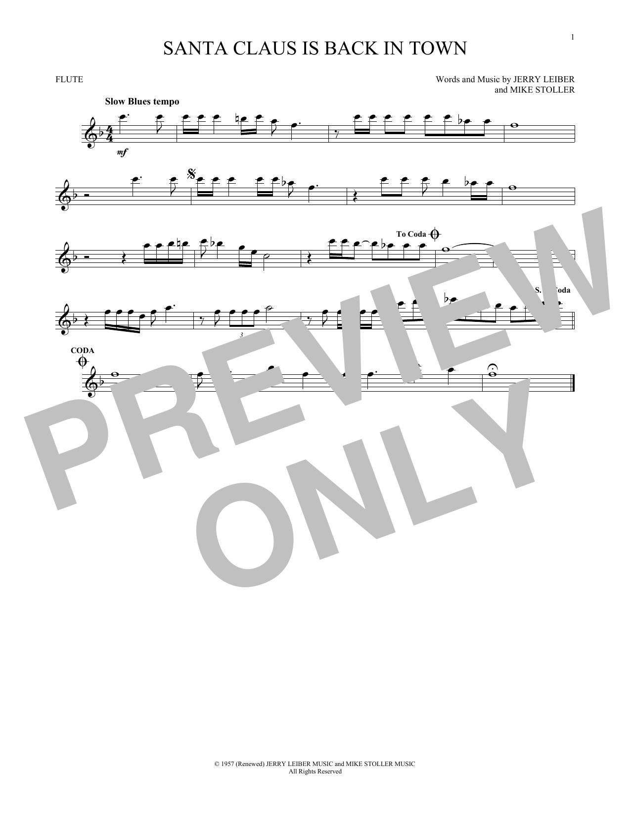 Partition flûte Santa Claus Is Back In Town de Elvis Presley - Flute traversiere