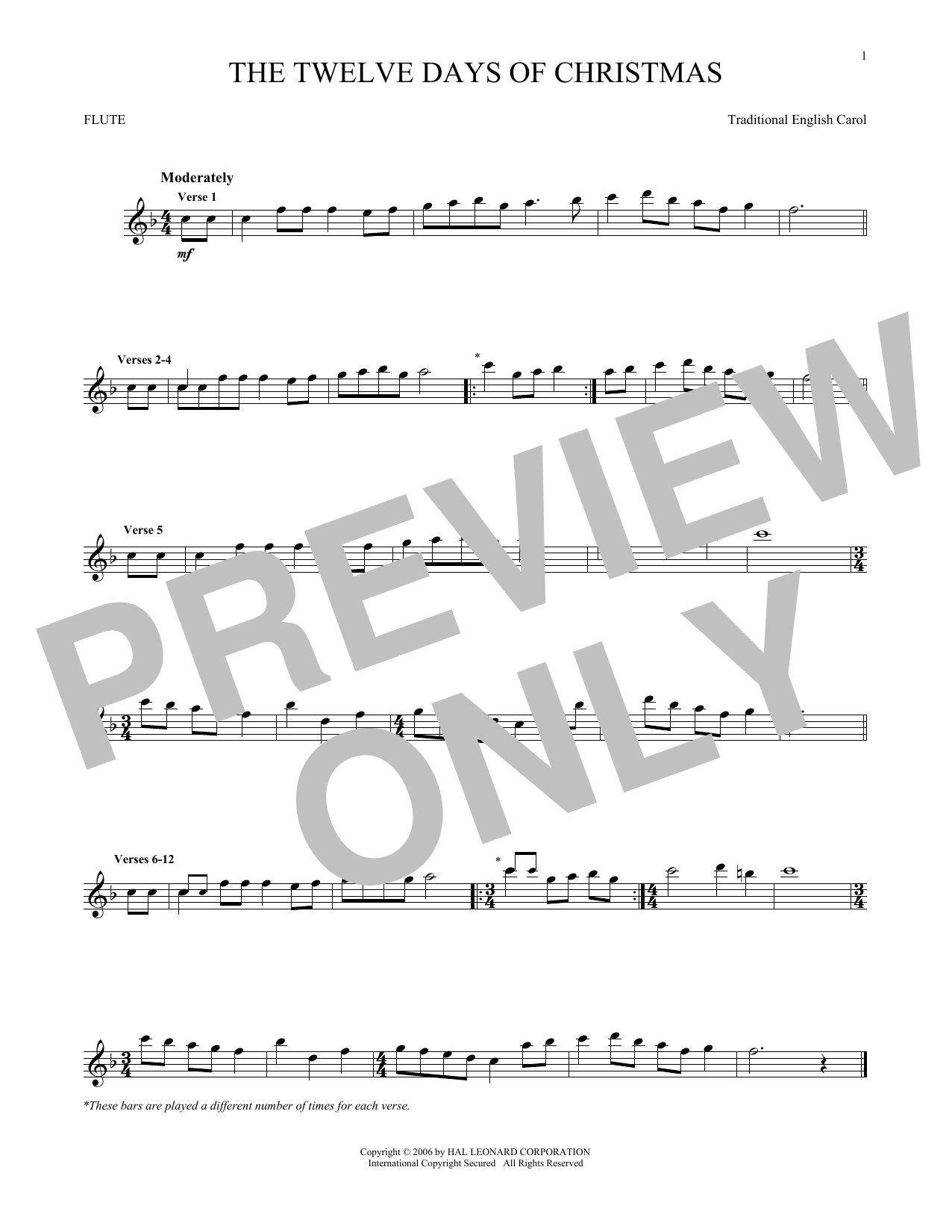 Partition flûte The Twelve Days Of Christmas de Traditional English Carol - Flute traversiere