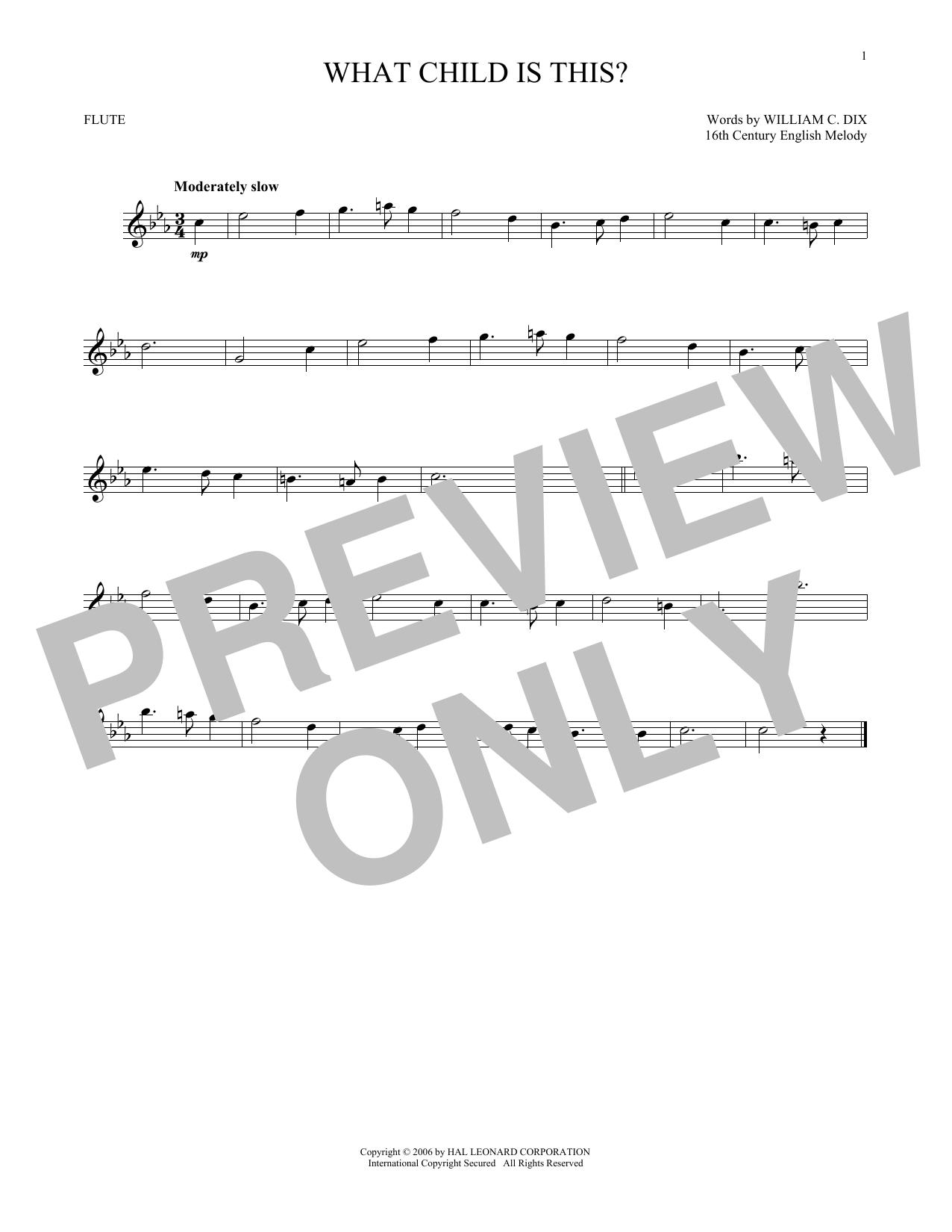 Partition flûte What Child Is This? de William C. Dix - Flute traversiere