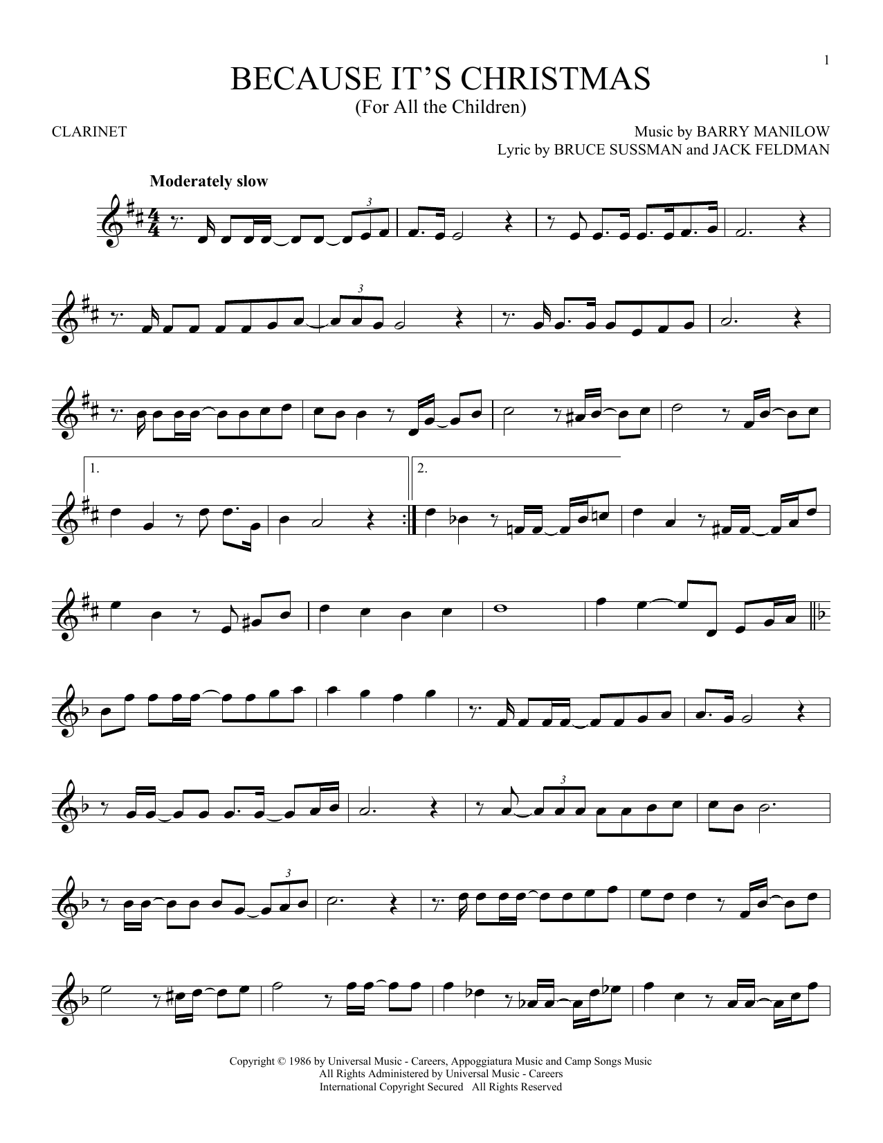 Because It's Christmas (For All The Children) (Clarinet Solo)