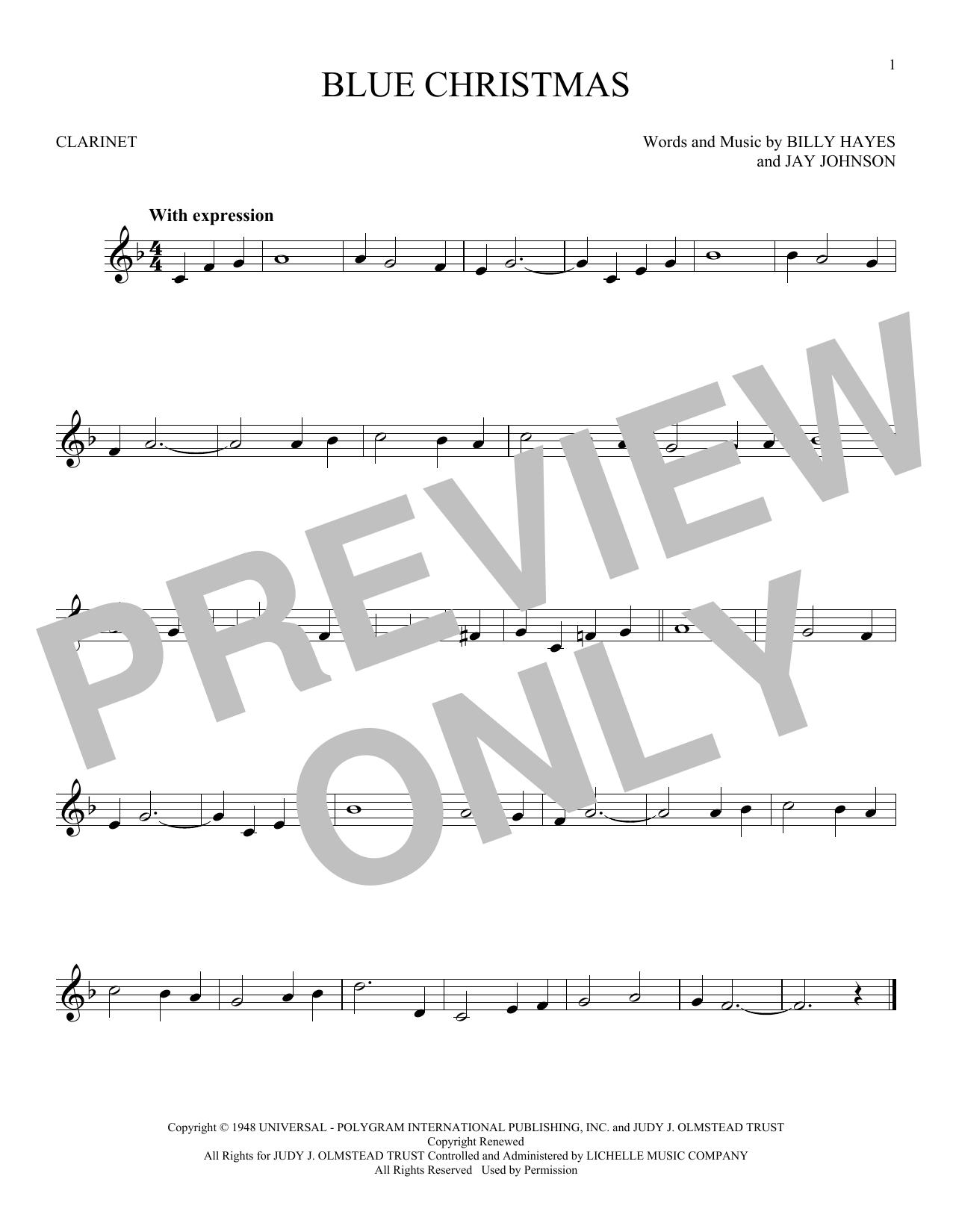 Blue Christmas (Clarinet Solo)