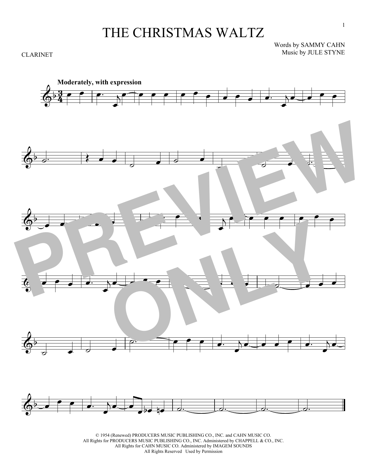 Partition clarinette The Christmas Waltz de Frank Sinatra - Clarinette