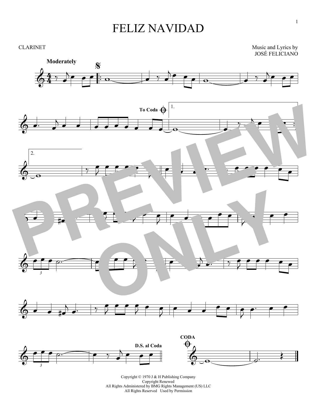 Feliz Navidad (Clarinet Solo)