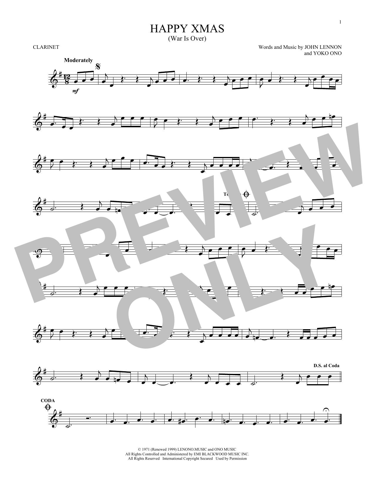 Happy Xmas (War Is Over) (Clarinet Solo)