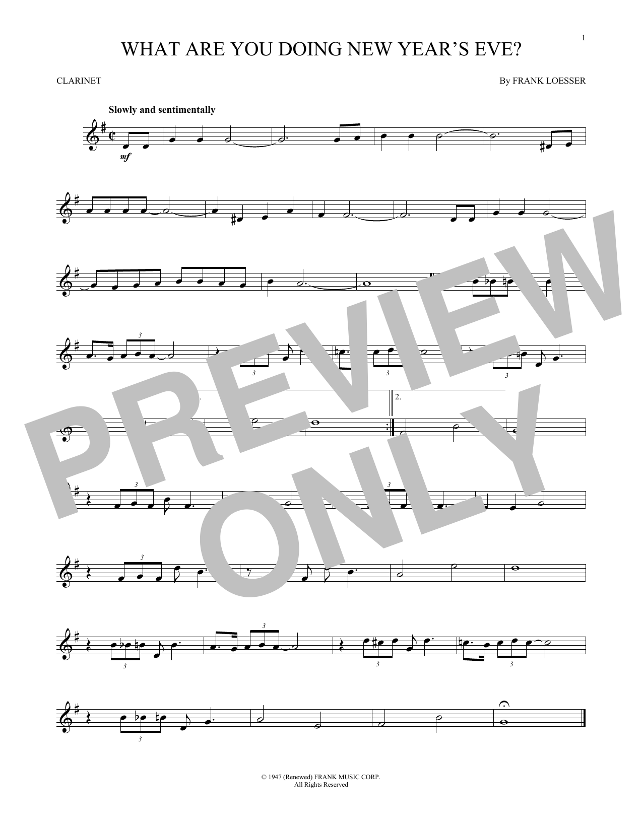 What Are You Doing New Year's Eve? (Clarinet Solo)