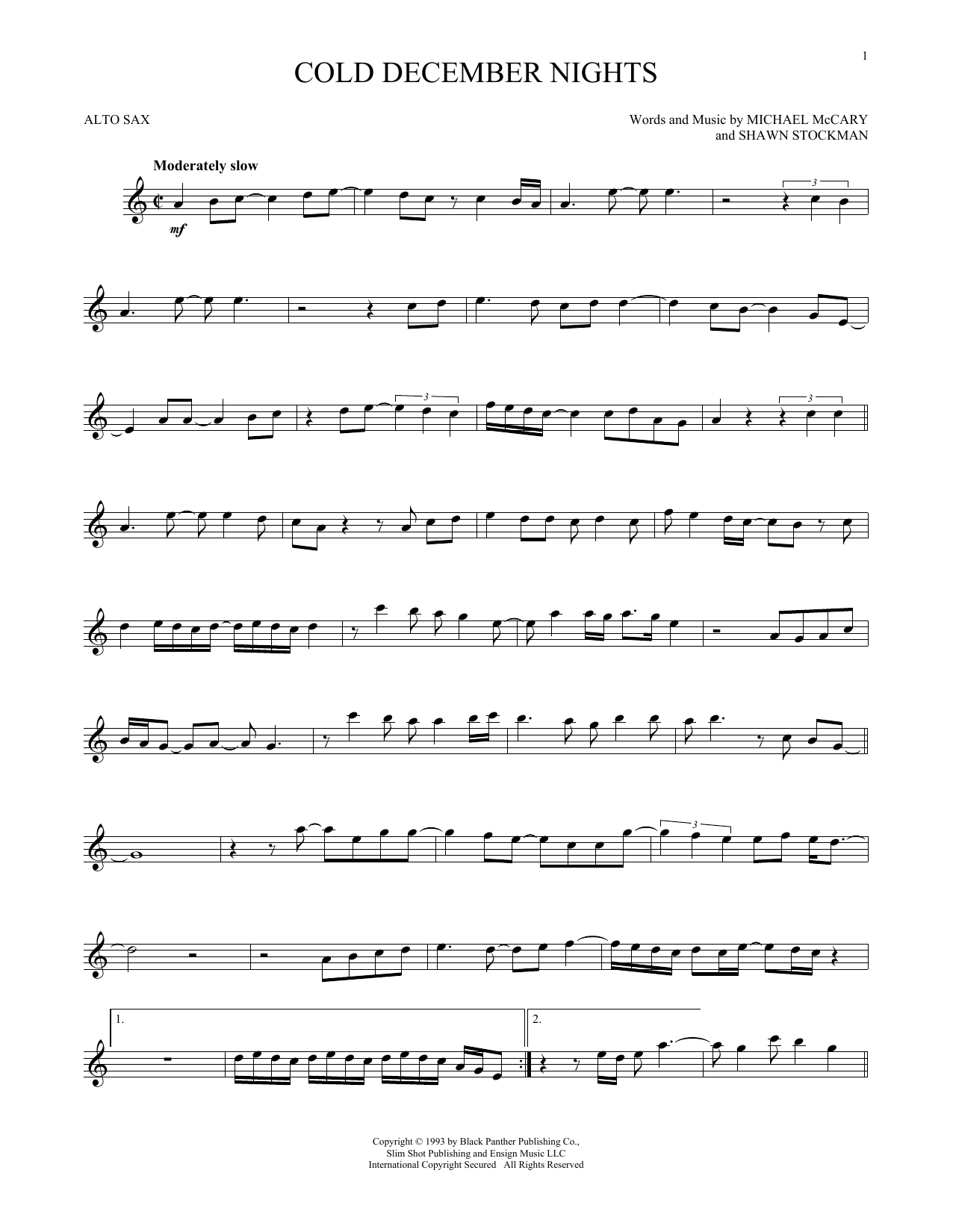 Cold December Nights Sheet Music