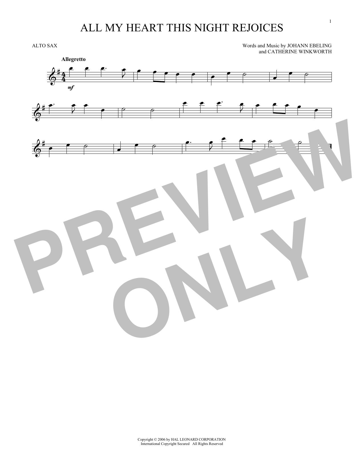 All My Heart This Night Rejoices (Alto Sax Solo)