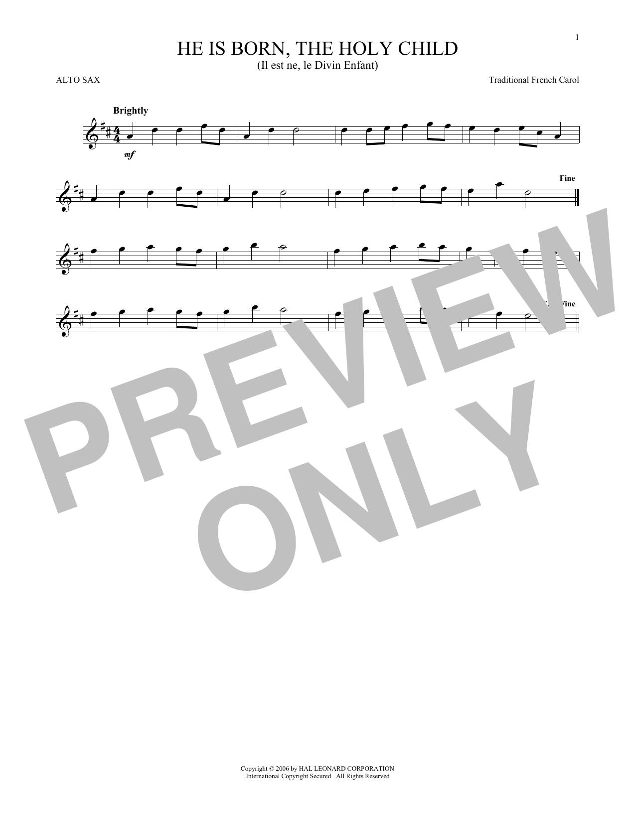 He Is Born, The Holy Child (Il Est Ne, Le Divin Enfant) (Alto Sax Solo)
