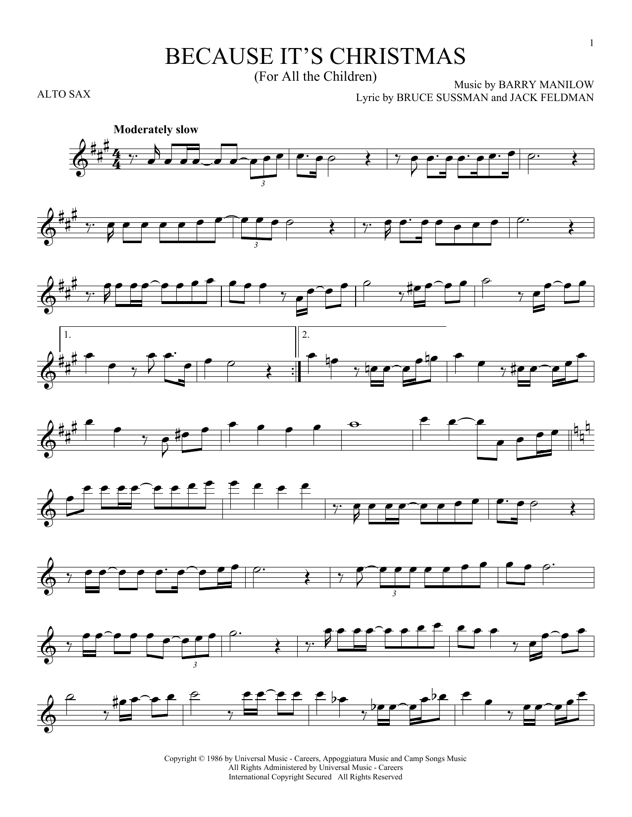 Because It's Christmas (For All The Children) (Alto Sax Solo)