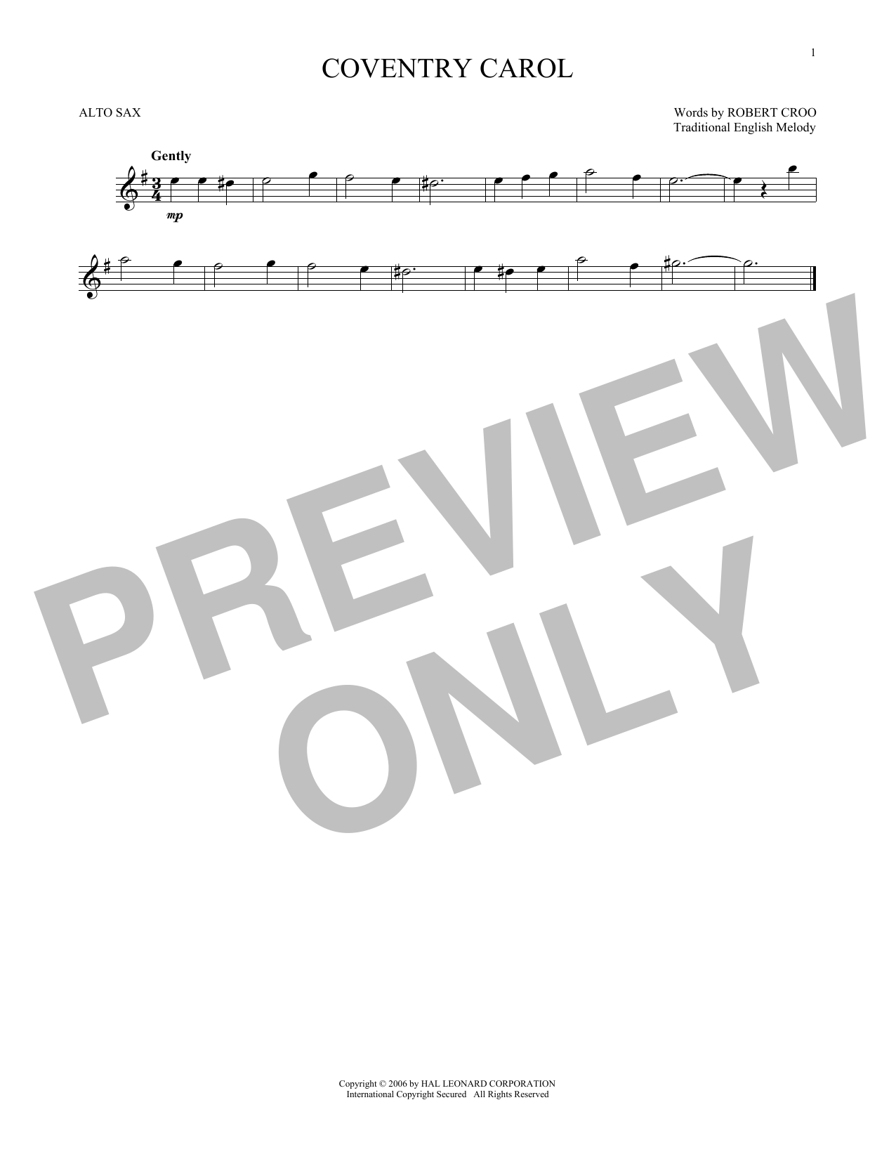 Partition saxophone Coventry Carol de Christmas Carol - Sax Alto