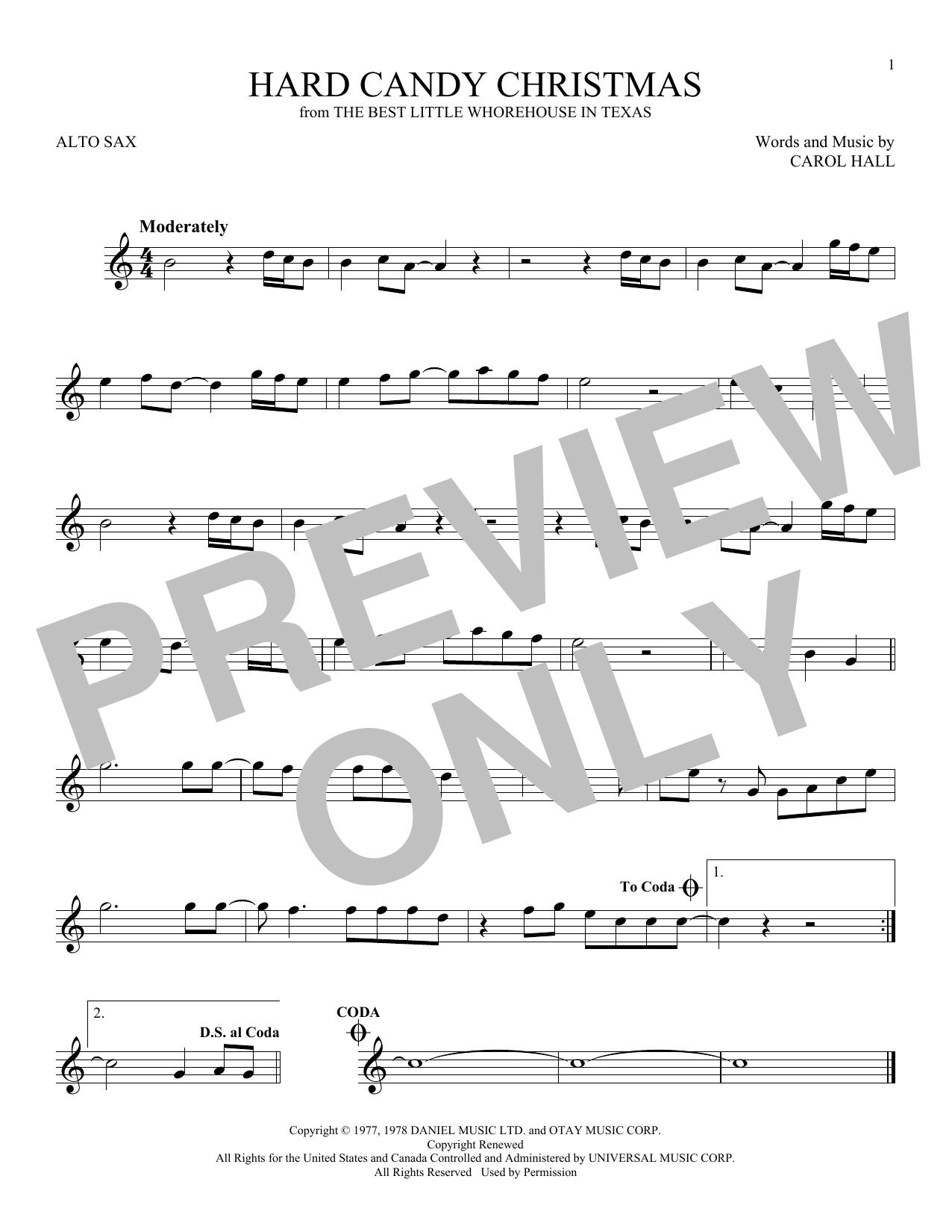 Partition saxophone Hard Candy Christmas de Dolly Parton - Sax Alto