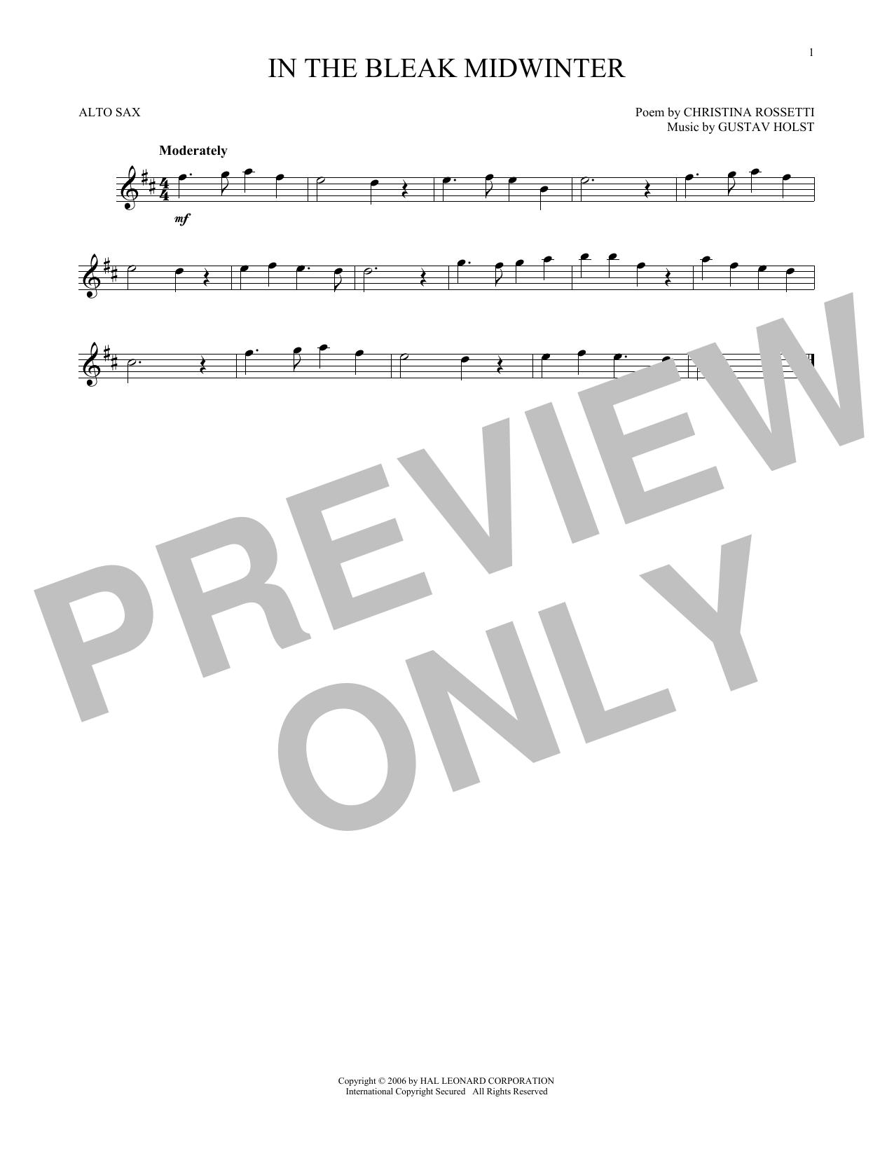 Partition saxophone In The Bleak Midwinter de Christina Rossetti - Sax Alto