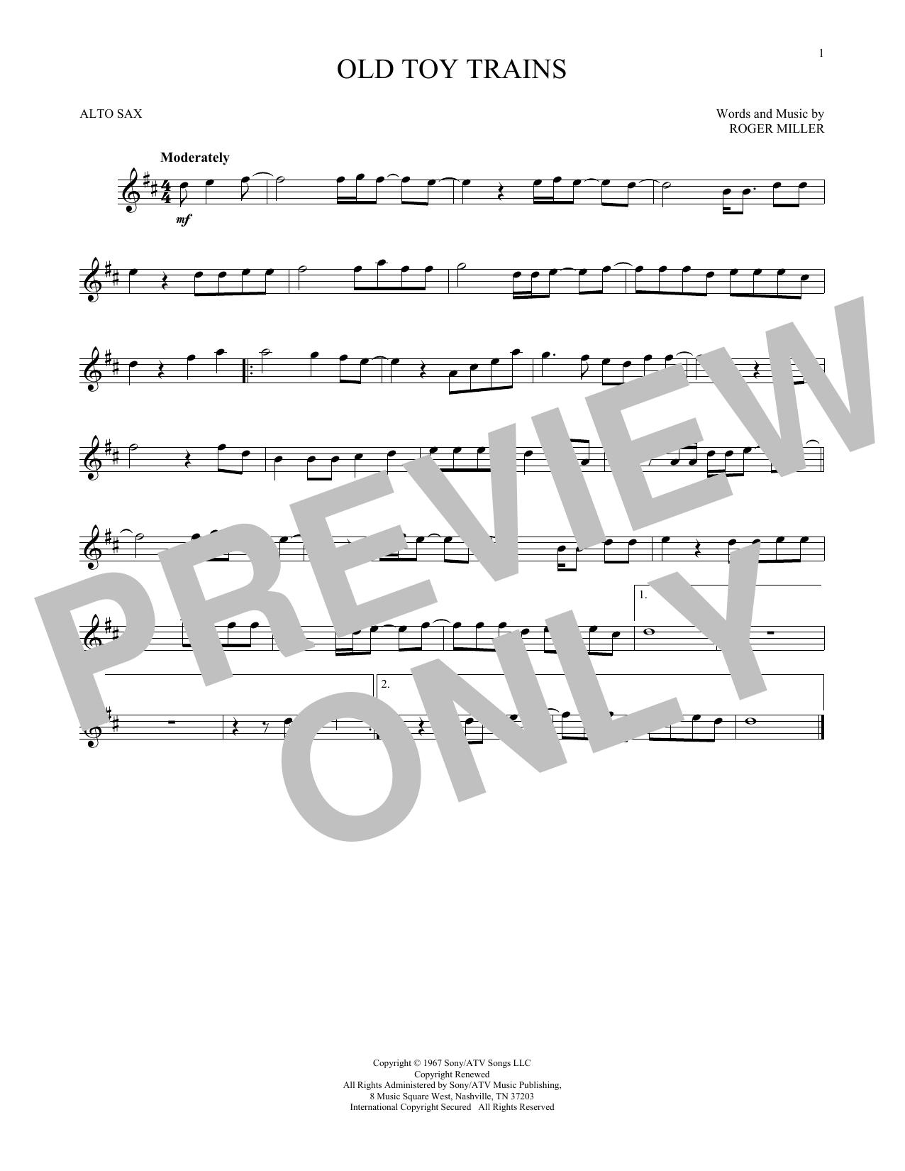 Partition saxophone Old Toy Trains de Roger Miller - Sax Alto