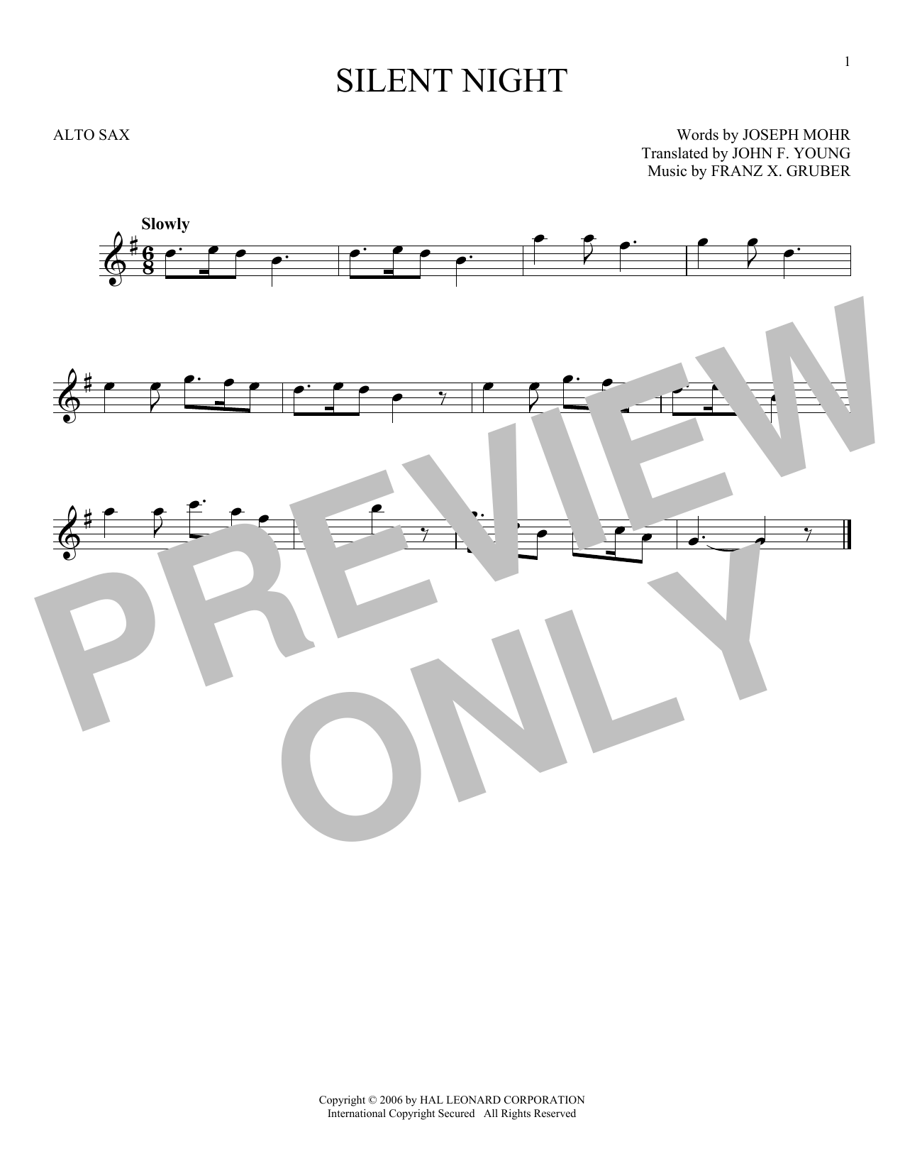 Partition saxophone Silent Night de Franz X. Gruber - Sax Alto