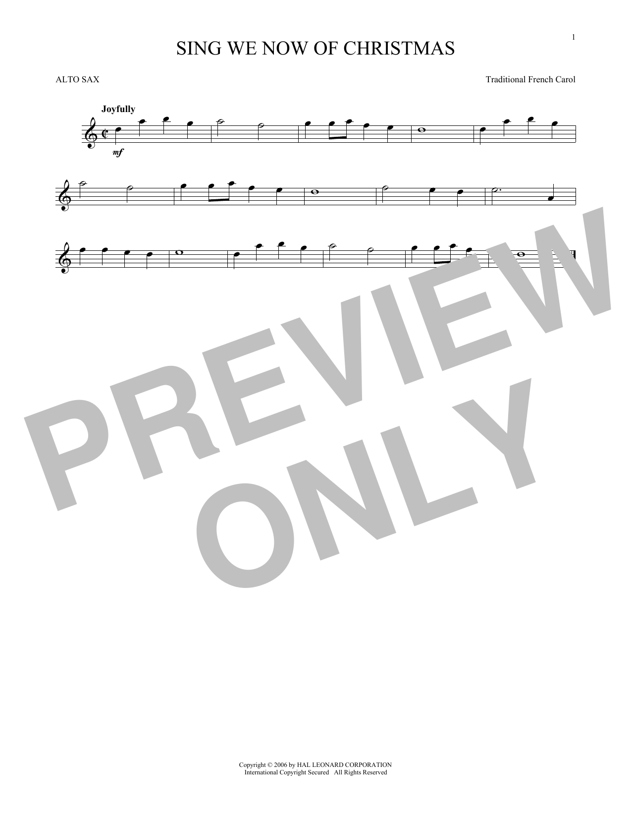 Sing We Now Of Christmas (Alto Sax Solo)