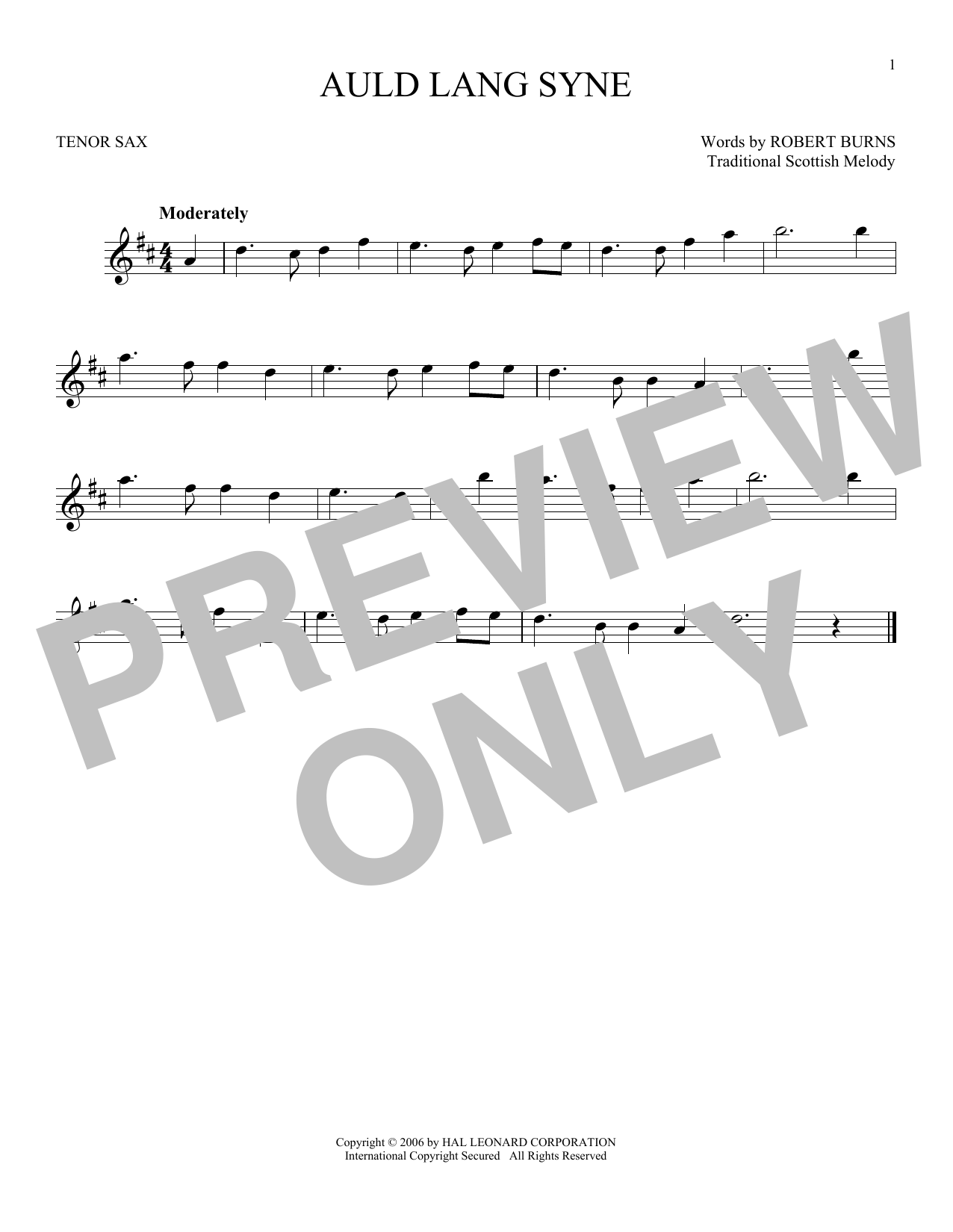 Auld Lang Syne (Tenor Sax Solo)