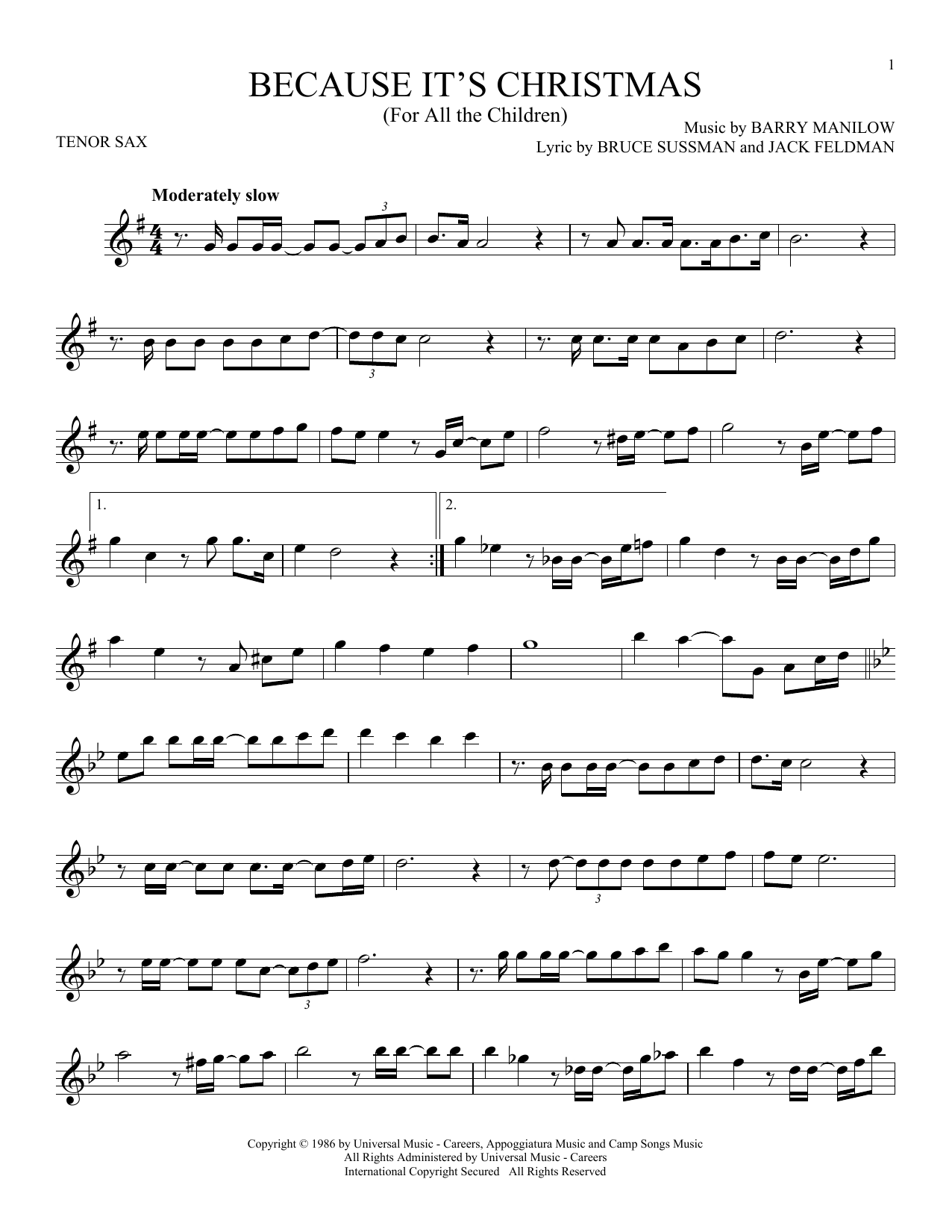 Because It's Christmas (For All The Children) (Tenor Sax Solo)
