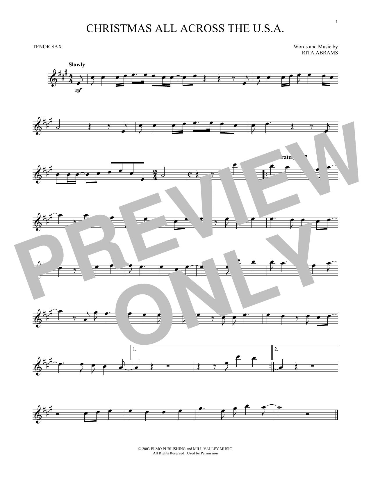 Christmas All Across The U.S.A. (Tenor Sax Solo)