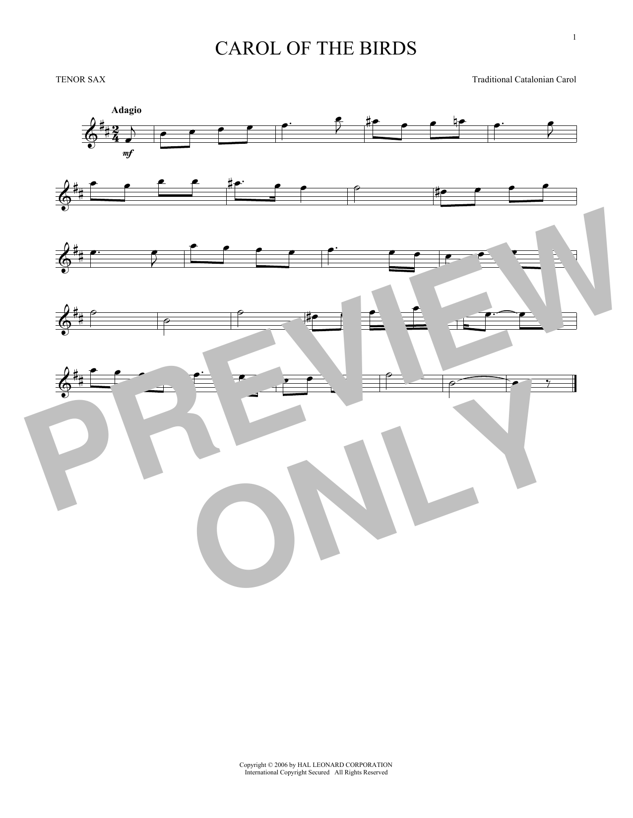 Carol Of The Birds Sheet Music