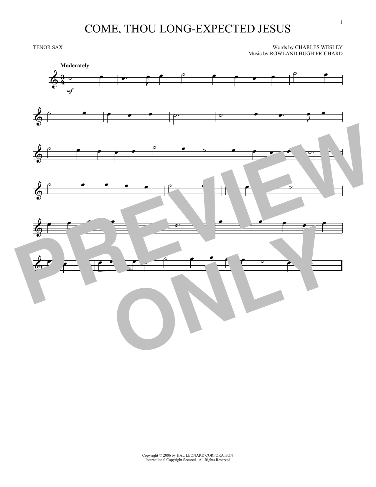 Come, Thou Long-Expected Jesus (Tenor Sax Solo)