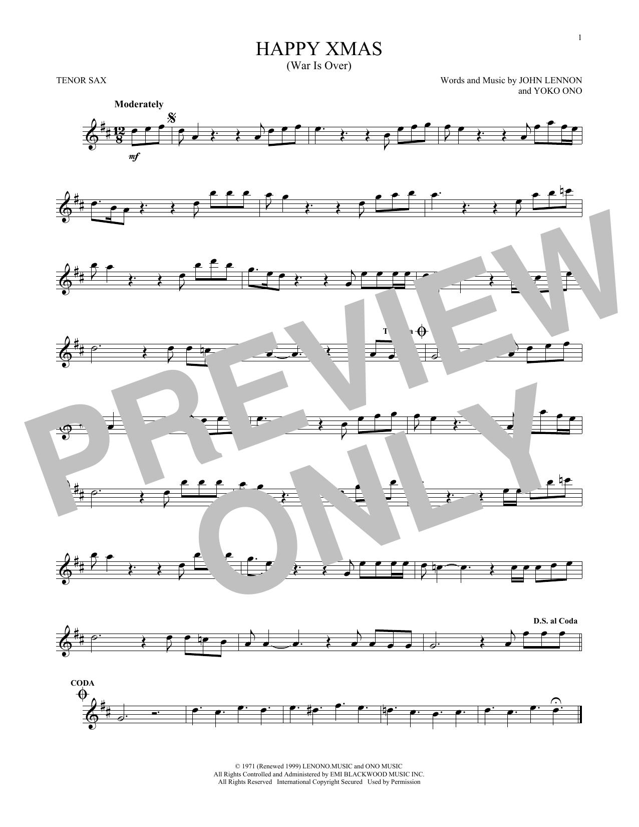 Partition saxophone Happy Xmas (War Is Over) de John Lennon - Autre