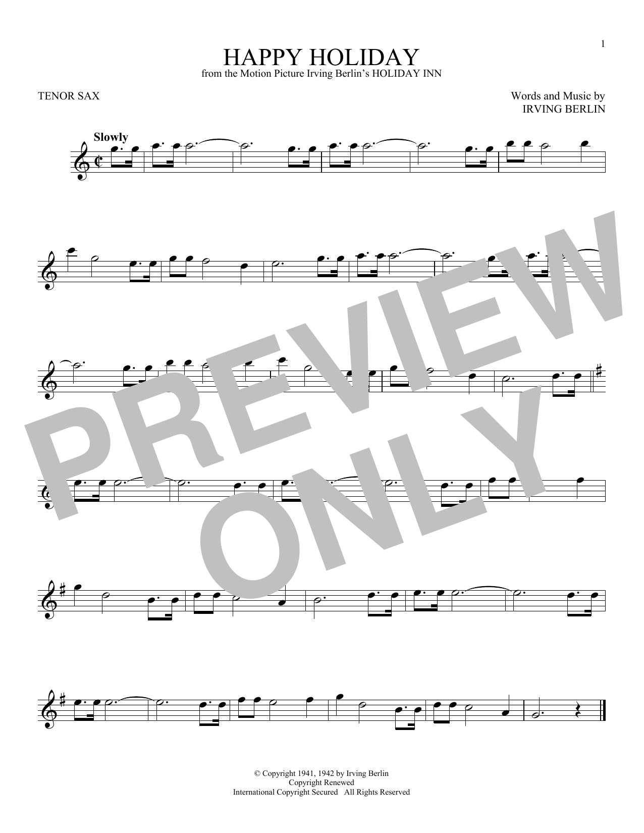 Partition saxophone Happy Holiday de Irving Berlin - Sax Tenor