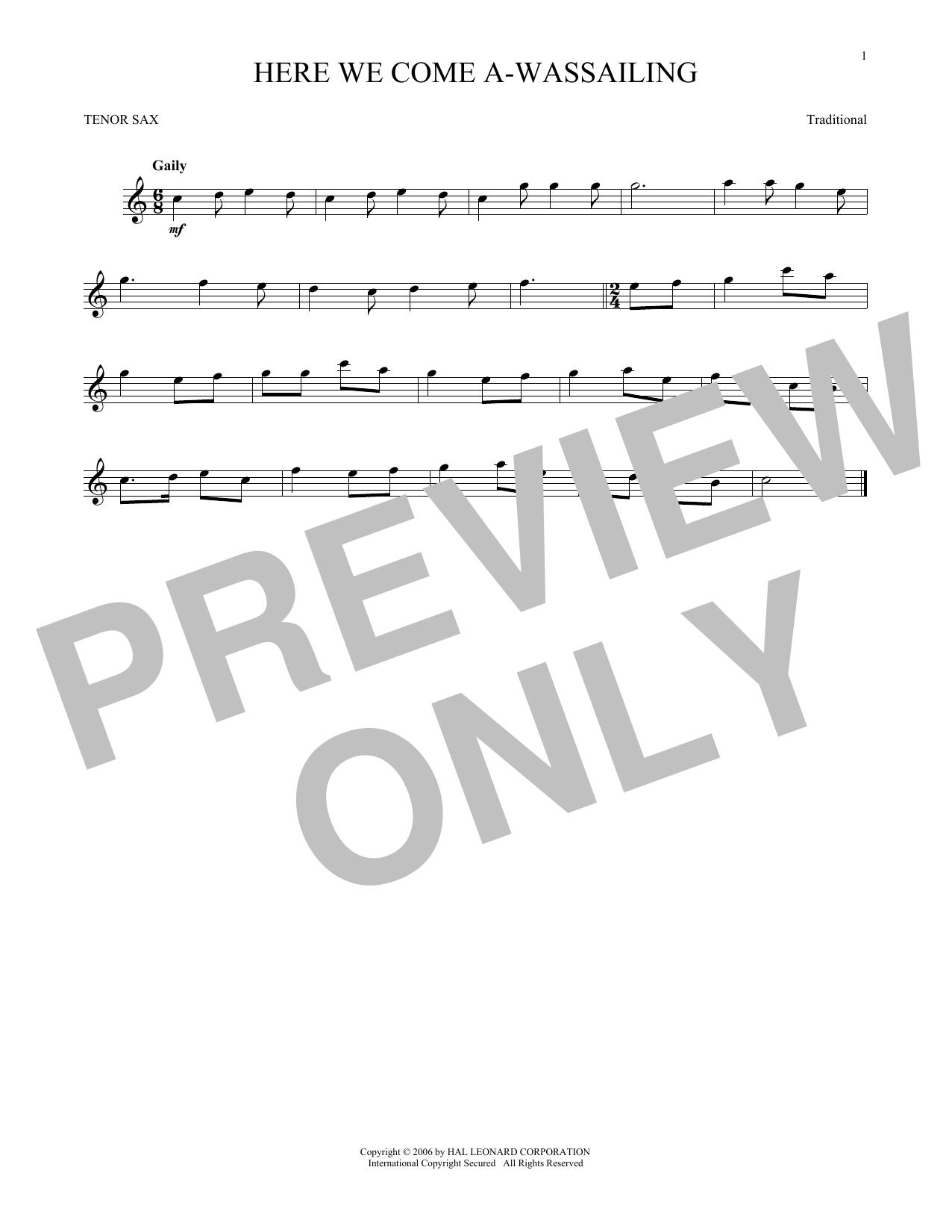 Here We Come A-Wassailing (Tenor Sax Solo)