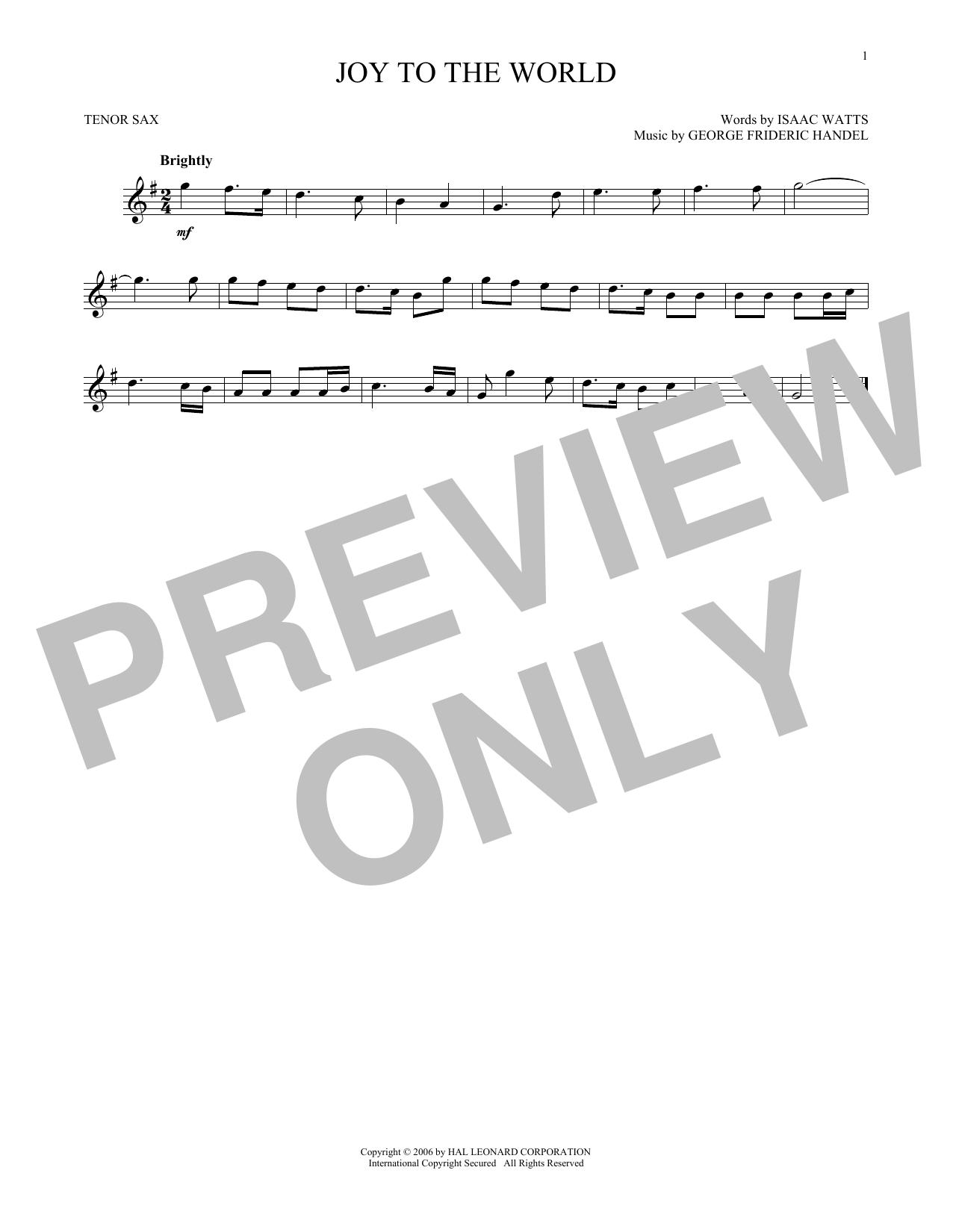 Joy To The World (Tenor Sax Solo)