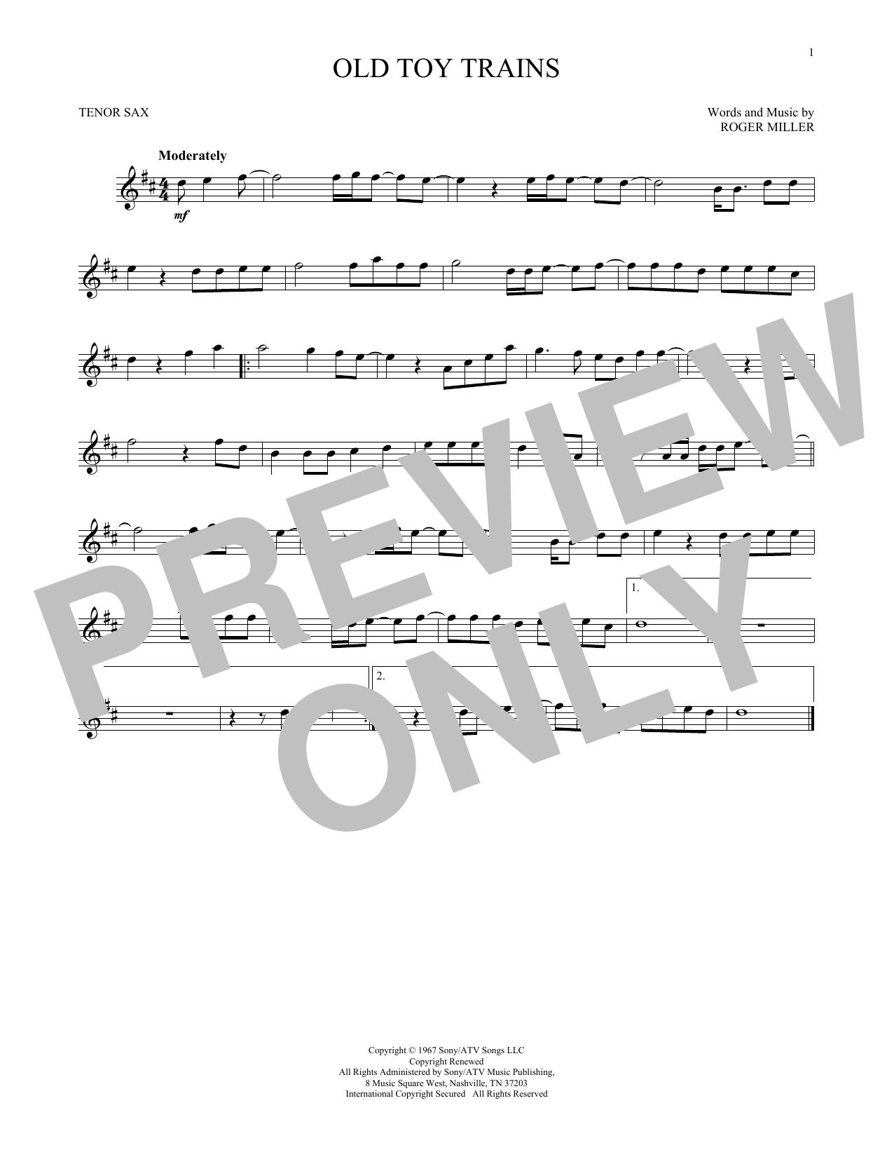 Partition saxophone Old Toy Trains de Roger Miller - Sax Tenor