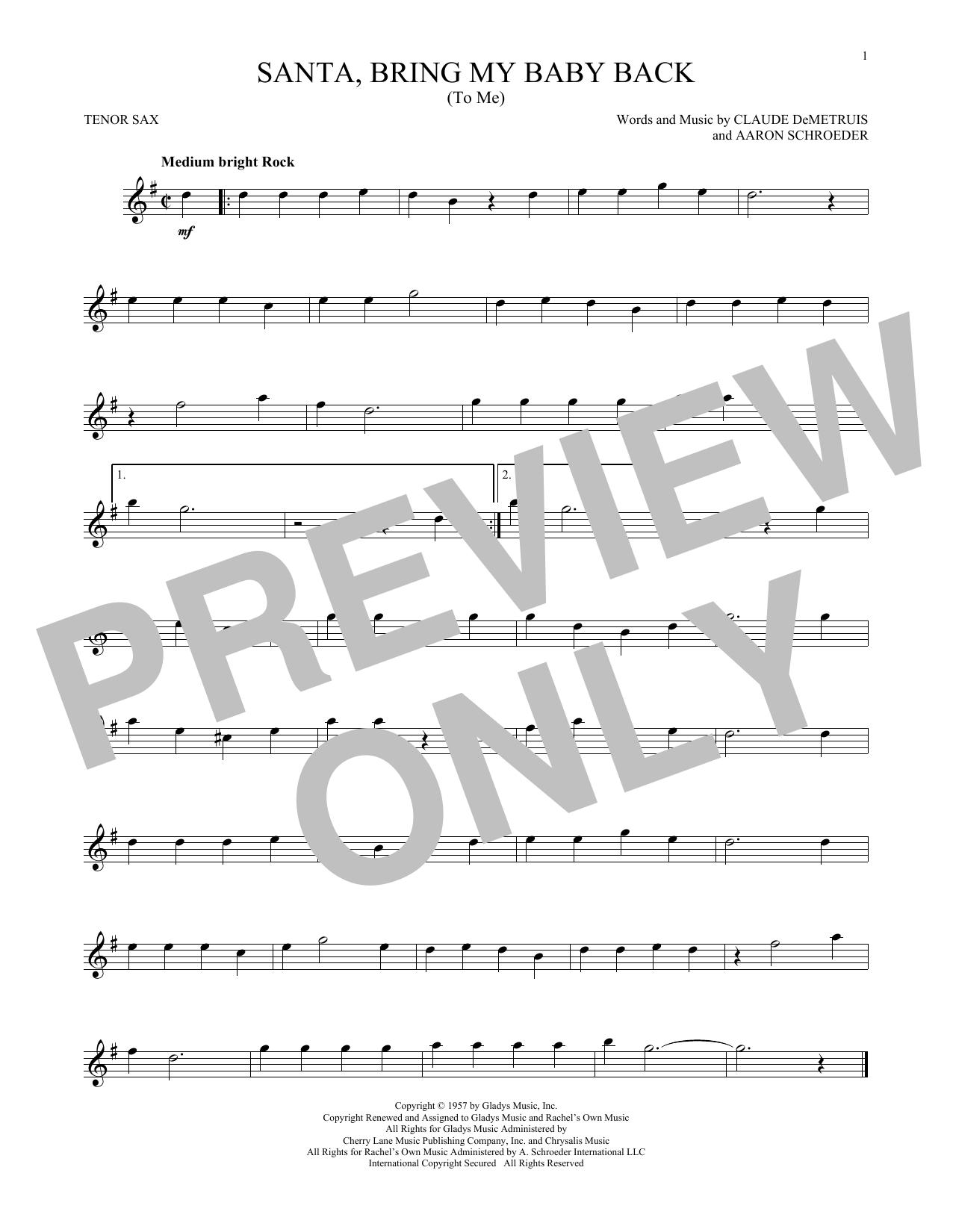 Santa, Bring My Baby Back (To Me) (Tenor Sax Solo)