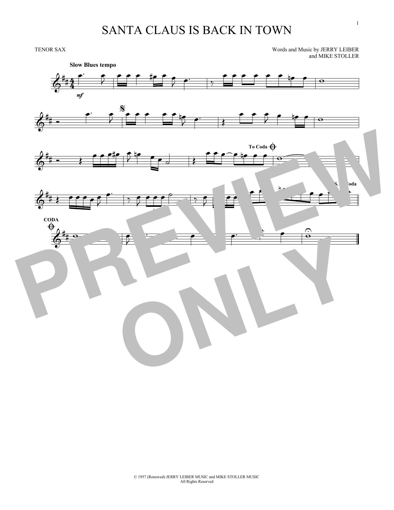 Partition saxophone Santa Claus Is Back In Town de Elvis Presley - Sax Tenor