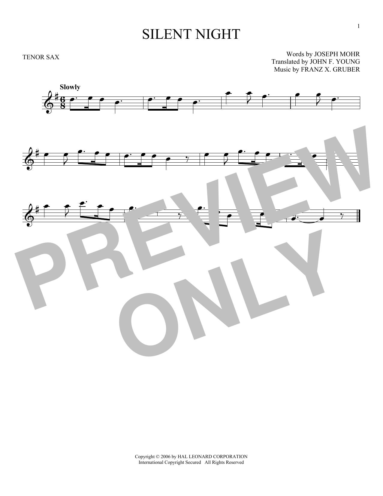 Partition saxophone Silent Night de Franz X. Gruber - Sax Tenor
