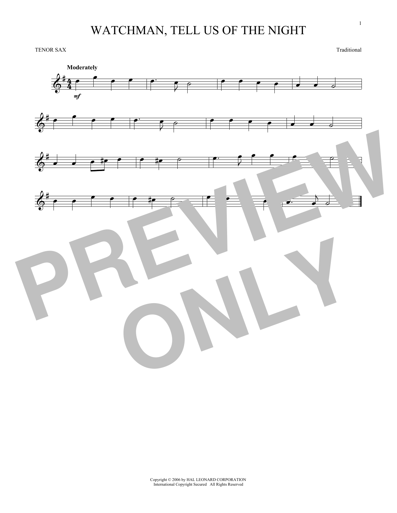 Partition saxophone Watchman, Tell Us Of The Night de Traditional - Sax Tenor