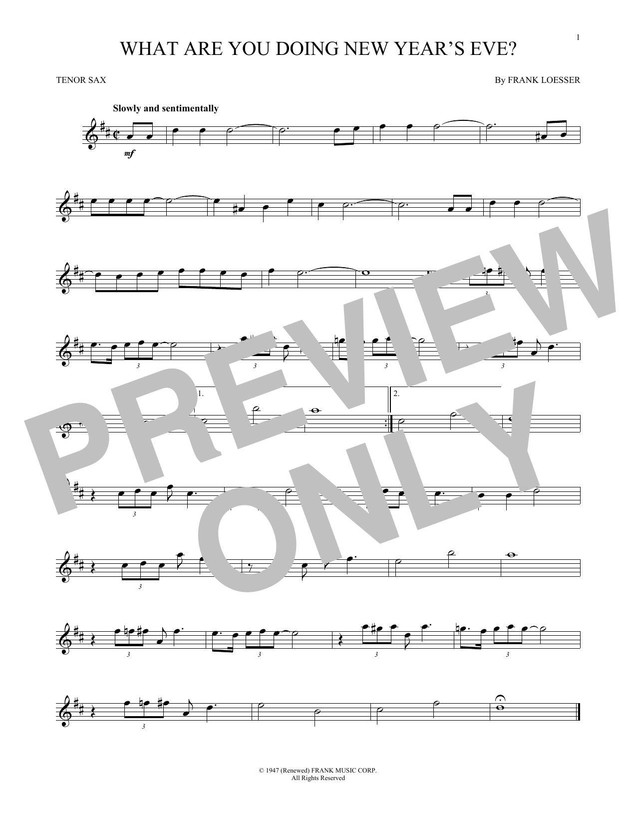 What Are You Doing New Year's Eve? (Tenor Sax Solo)