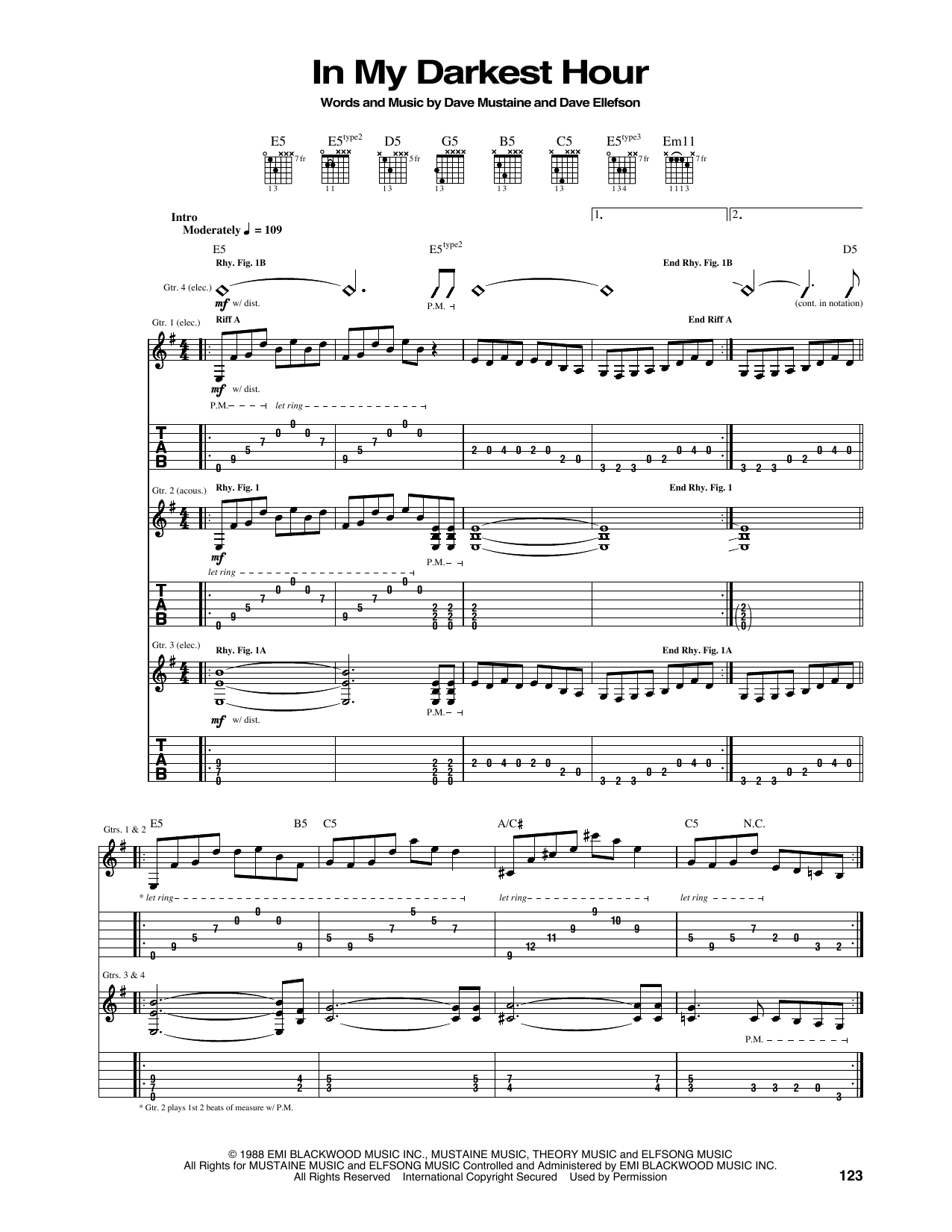 Tablature guitare In My Darkest Hour de Megadeth - Tablature Guitare