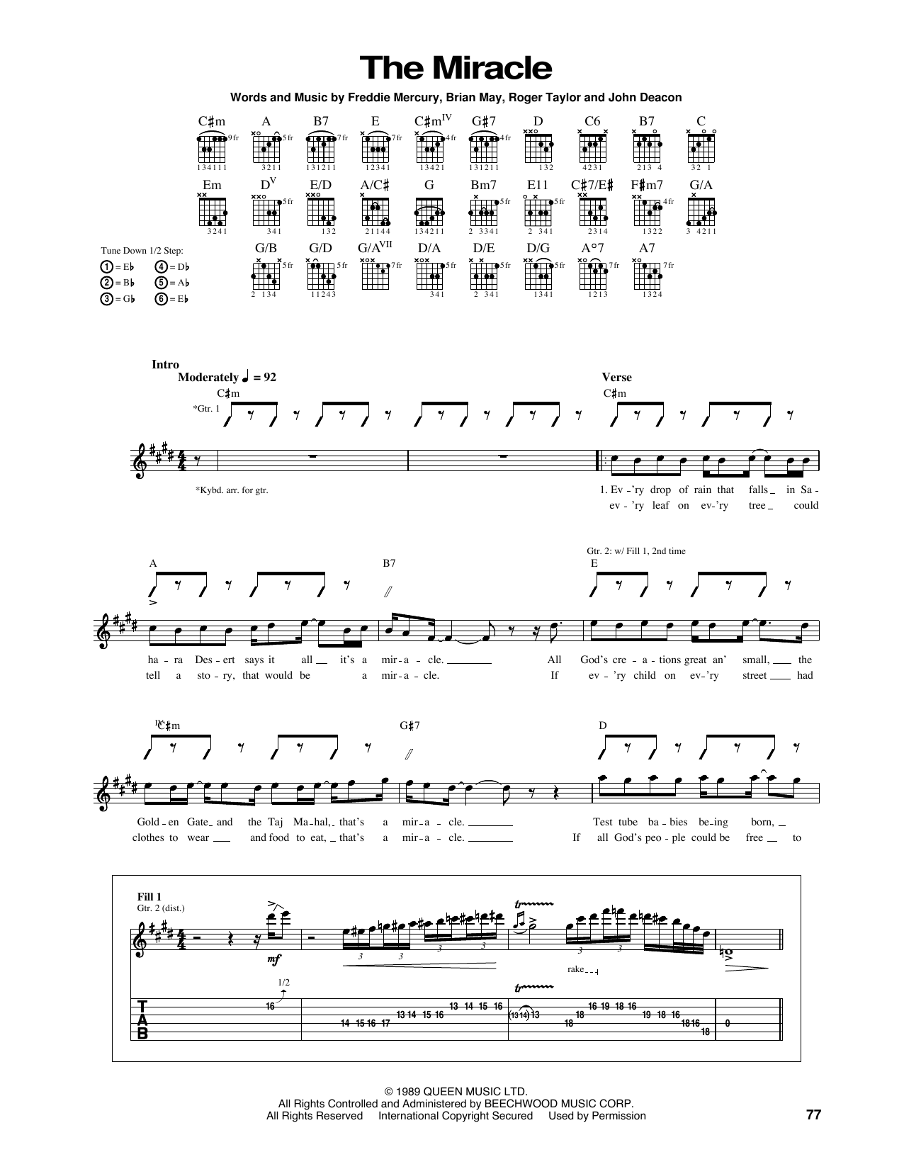The Miracle by Queen - Guitar Tab - Guitar Instructor