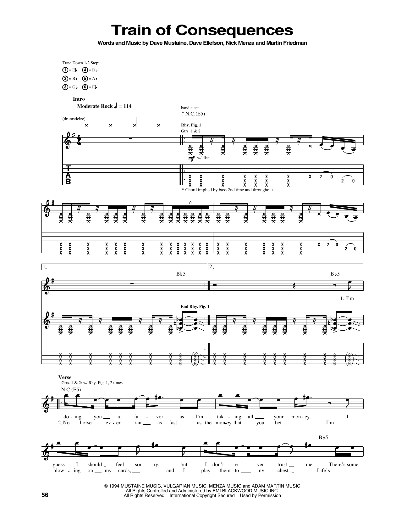 Tablature guitare Train Of Consequences de Megadeth - Tablature Guitare