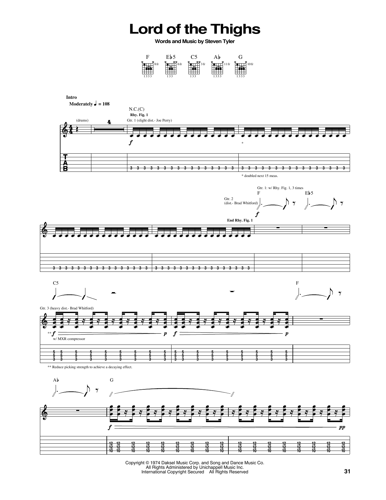 Lord Of The Thighs (Guitar Tab)