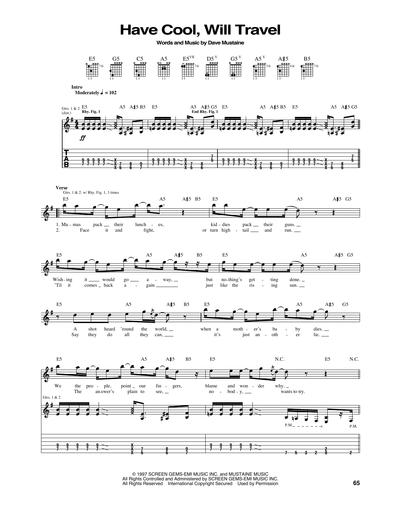 Tablature guitare Have Cool, Will Travel de Megadeth - Tablature Guitare