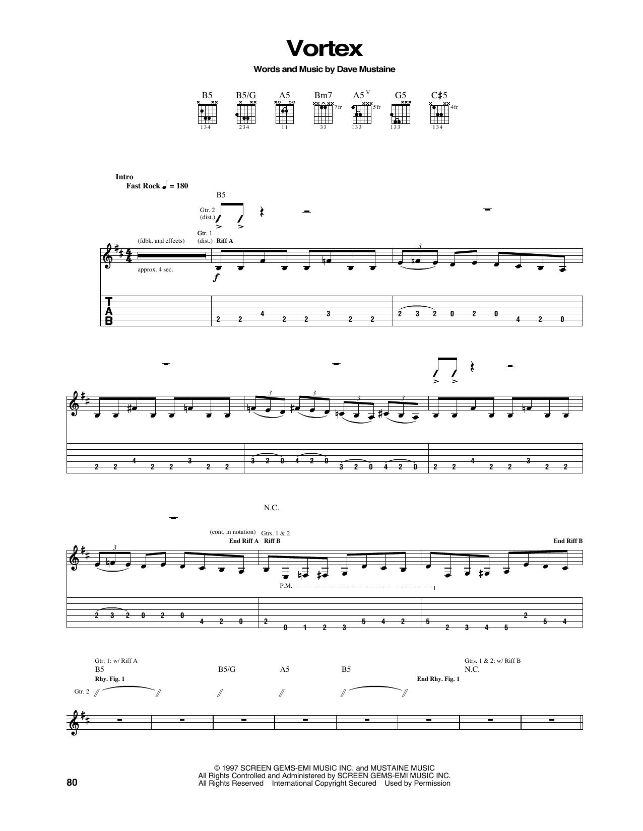 Tablature guitare Vortex de Megadeth - Tablature Guitare