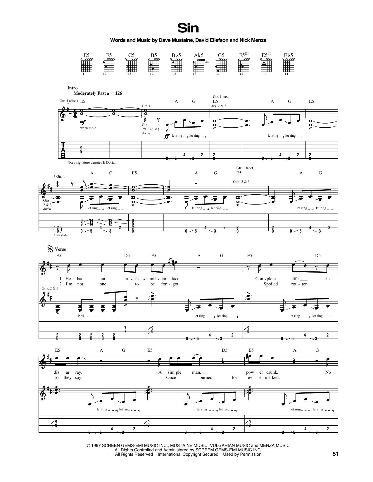 Tablature guitare Sin de Megadeth - Tablature Guitare