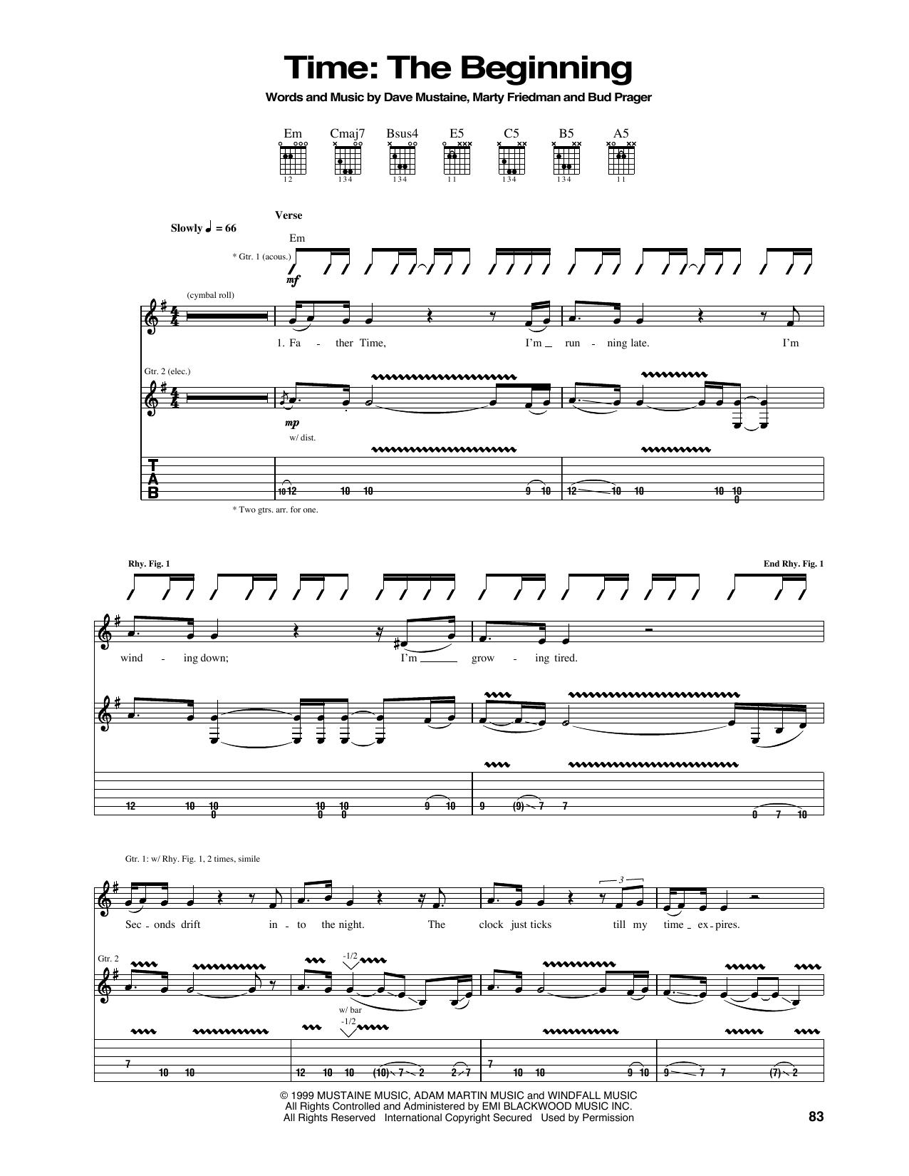 Tablature guitare Time de Megadeth - Tablature Guitare