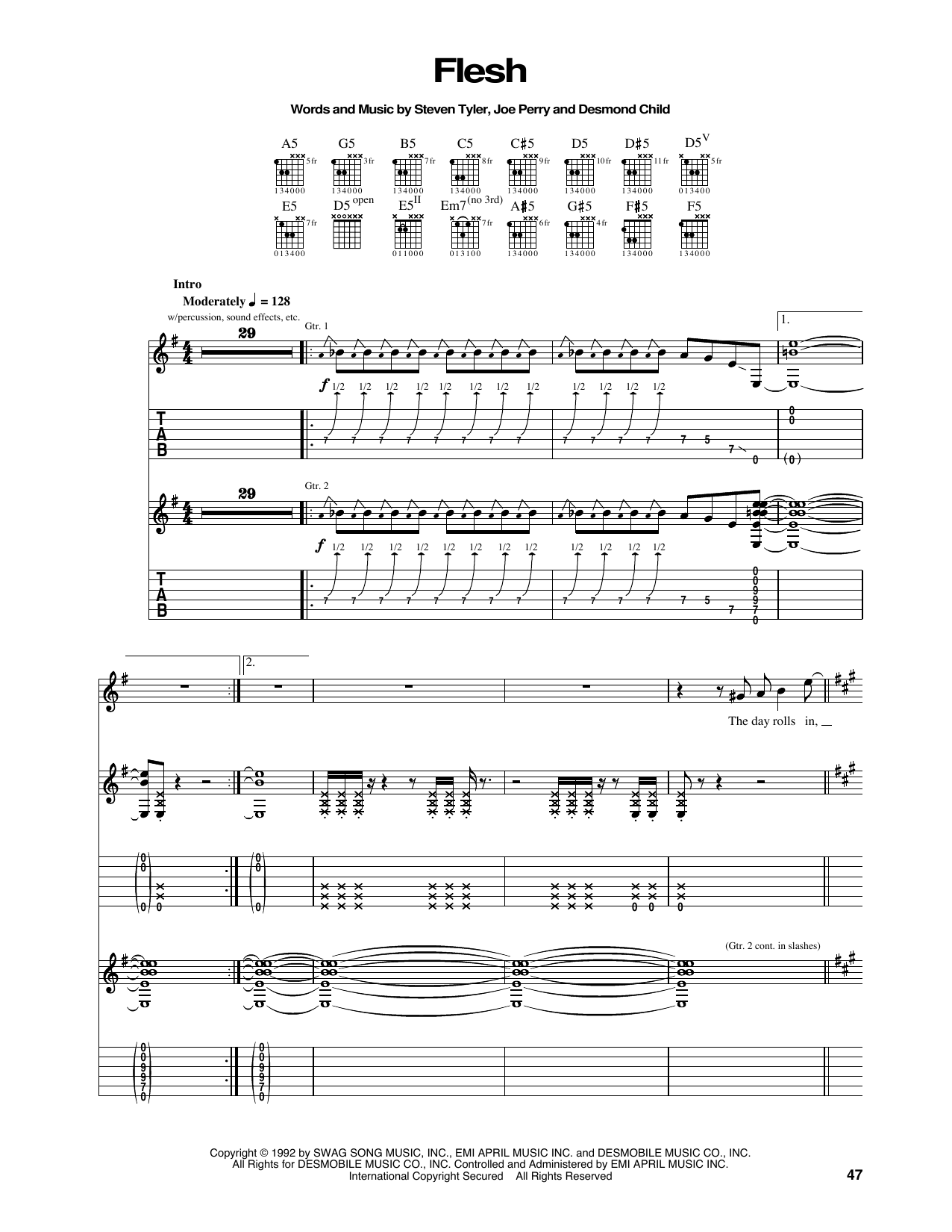 Tablature guitare Flesh de Aerosmith - Tablature Guitare