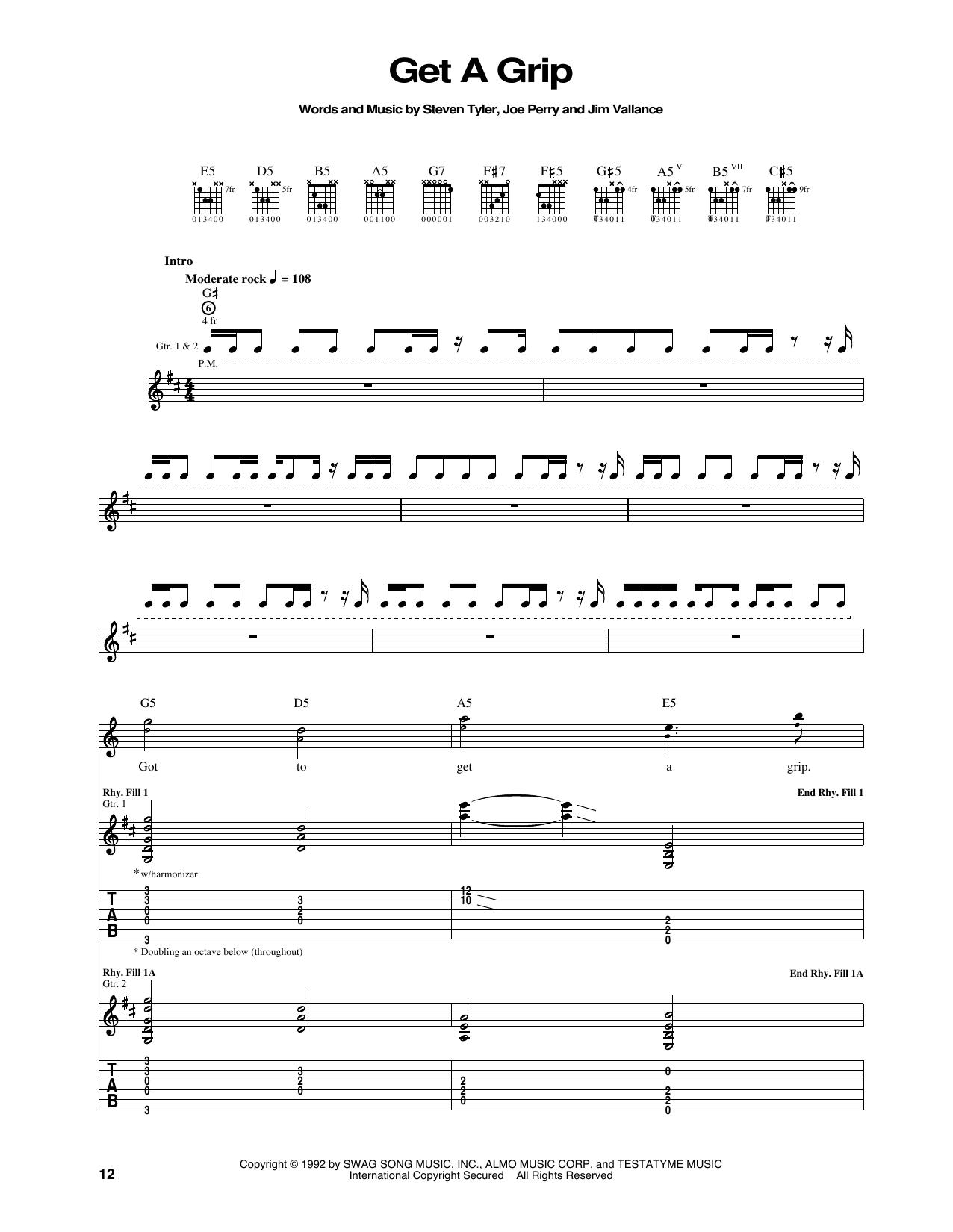 Tablature guitare Get A Grip de Aerosmith - Tablature Guitare