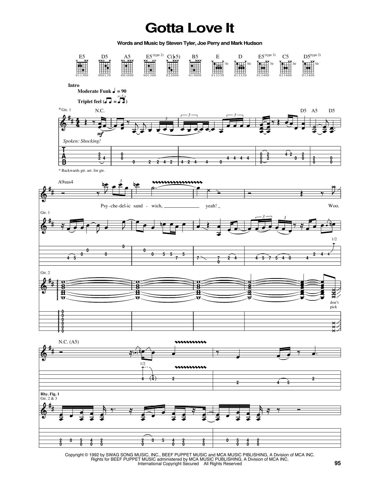 Tablature guitare Gotta Love It de Aerosmith - Tablature Guitare