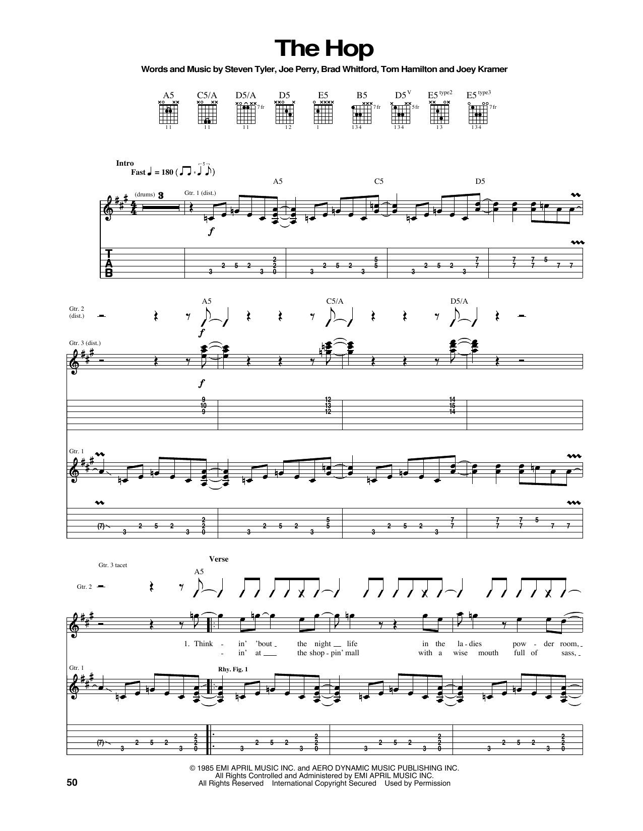 Tablature guitare The Hop de Aerosmith - Tablature Guitare